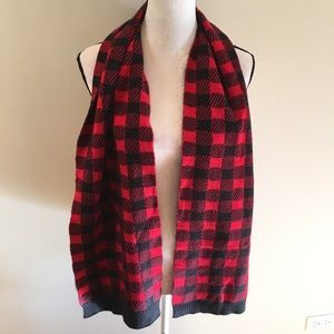 Woolrich red and black wool blend scarf